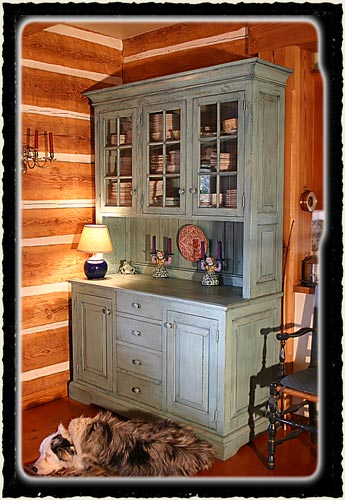 Painted Pioneer-style hutch from island milled lumber